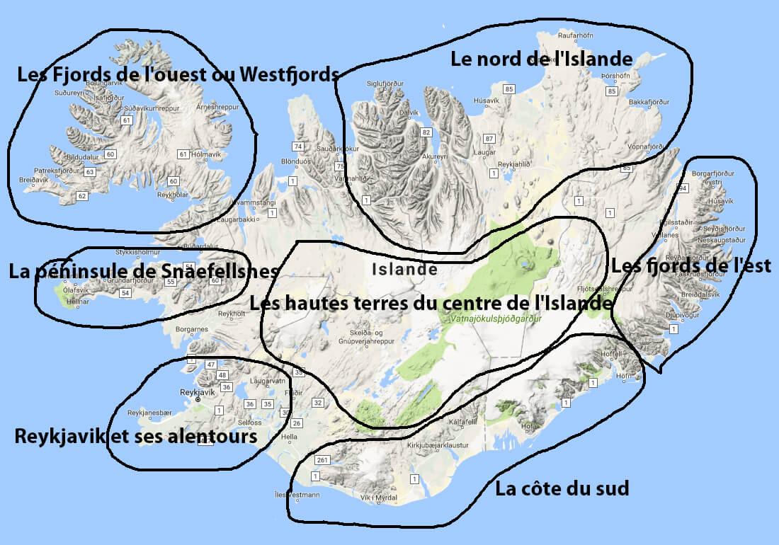 Les 7 grandes régions d'Islande