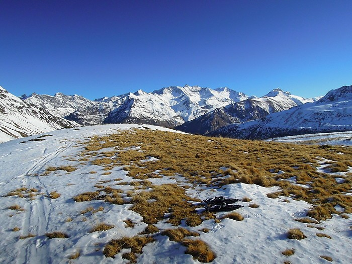 Randonnée en raquettes dans les Pyrénées, vers le Pourteillou