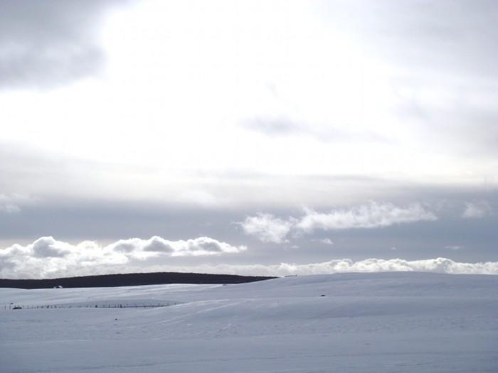 Paysage d'Aubrac sous la neige, vent glacé