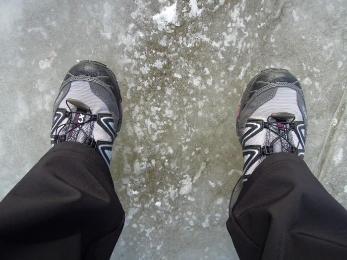 Salomon Wings sur la glace, gelée