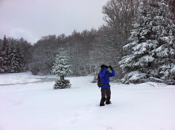 Randonnée sur l'Aubrac dans la neige
