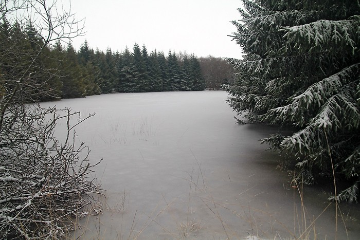 Passage près d'une étendue d'eau gelée