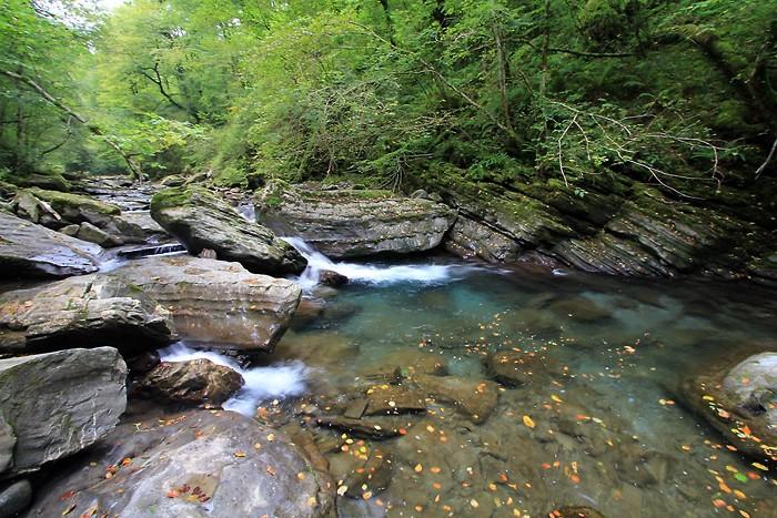 Début de la randonnée le long du cours d'eau