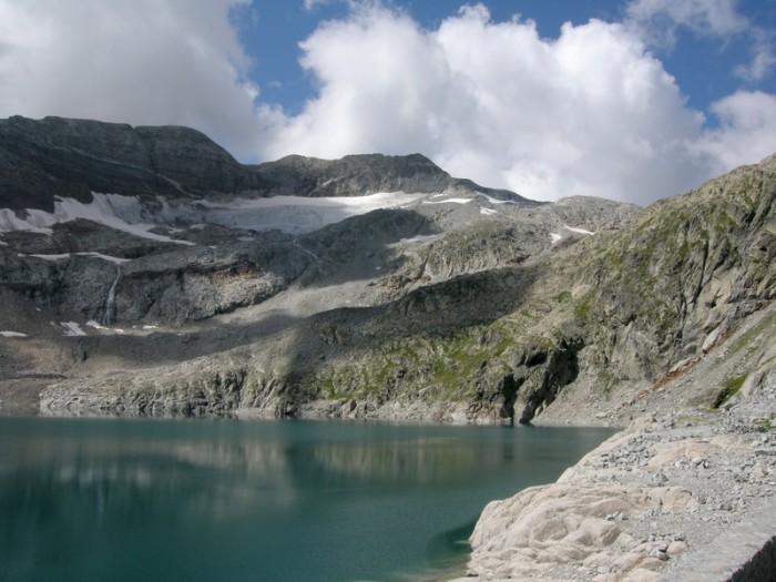 Lac du Portillon, glacier seuil de La Baque