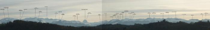 Panoramique identifié autours du pic du Midi