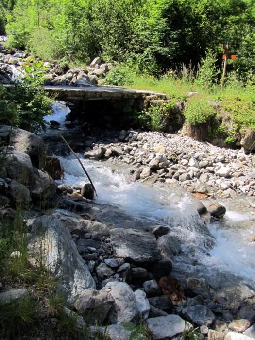 Passerelle au dessus d'un ruisseau lors de la montée au Lac du Lauvitel, Massif des Ecrins