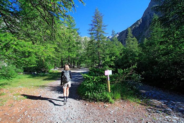 Départ de la randonnée pour le refuge du Glacier Blanc