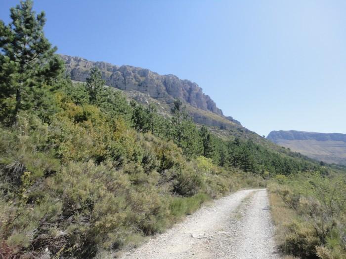 Piste grimpant au Mont Chiran dont on aperçoit les barres rocheuses à gauche.