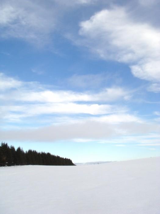 Eclaircie sur le plateau de l'Aubrac enneigé