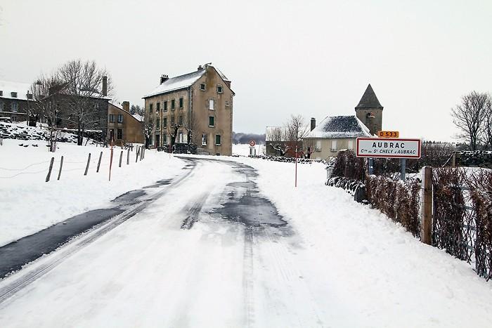 Village d'Aubrac sous la neige
