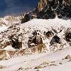 Les Drus avec la cascade de glace du Torrent des Drus