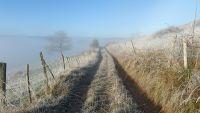 Le chemin est gelé sur le causse