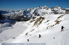 Descente à ski au-dessus du lac de Brazato
