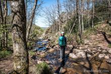 Les rochers pour traverser le cours d'eau