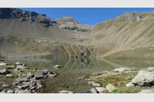 Arrivée au Lac Palluel, Alpes, depuis Dormillouse