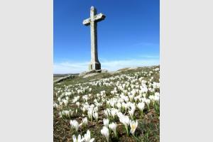 Rando Aubrac: Croix devant le Lac de Saint Andéol, près du Col de Bonnecombe, en Lozère