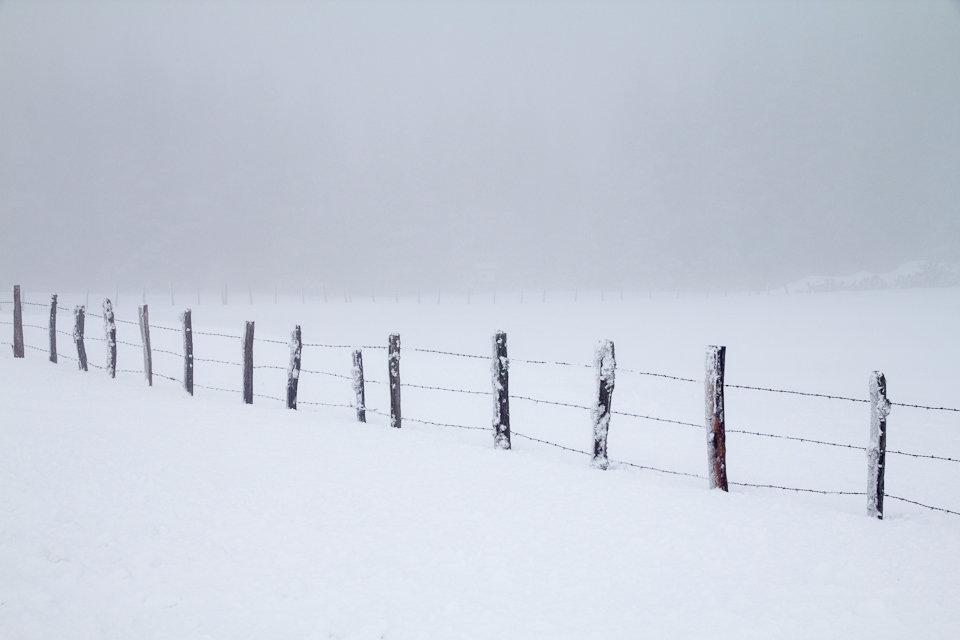 Neige et brouillard en Aveyron