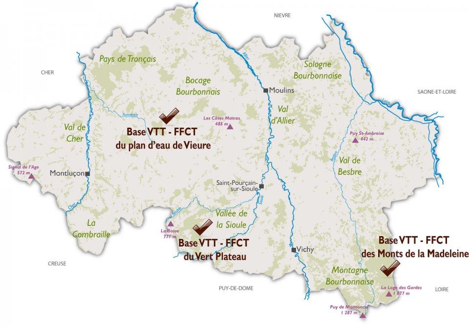 Bases de VTT dans l'Allier