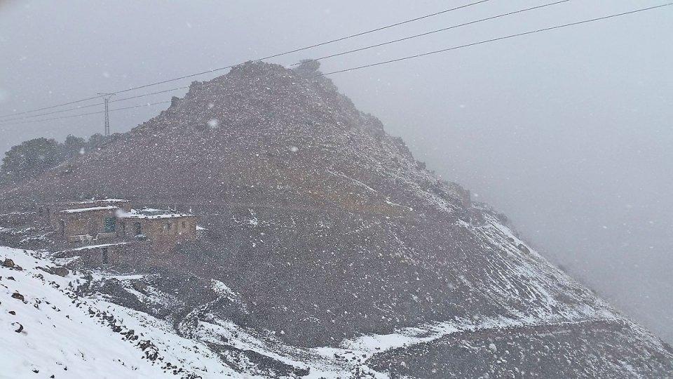 Tempête de neige dans le Haut Atlas