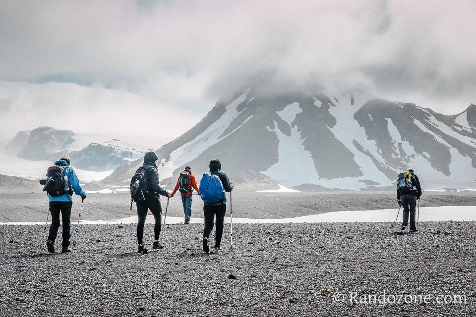 Randonneurs sur le trek du Laugavegur
