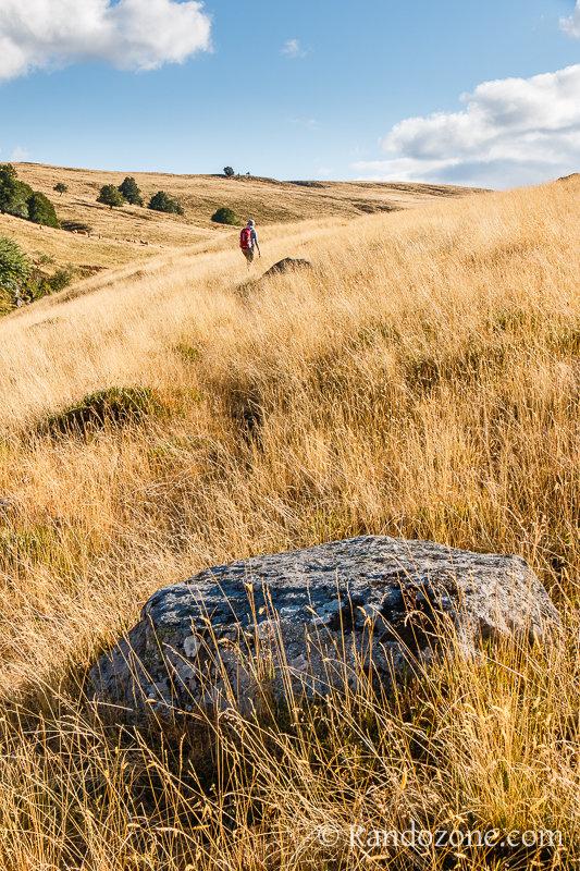 Randonnée dans un paysage vallonné