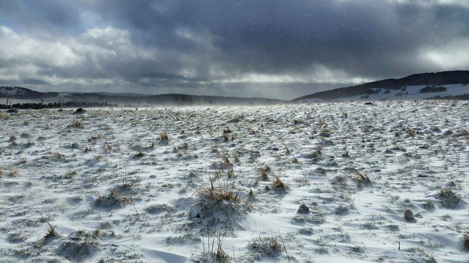 Bourrasques de neige sur l'Aubrac