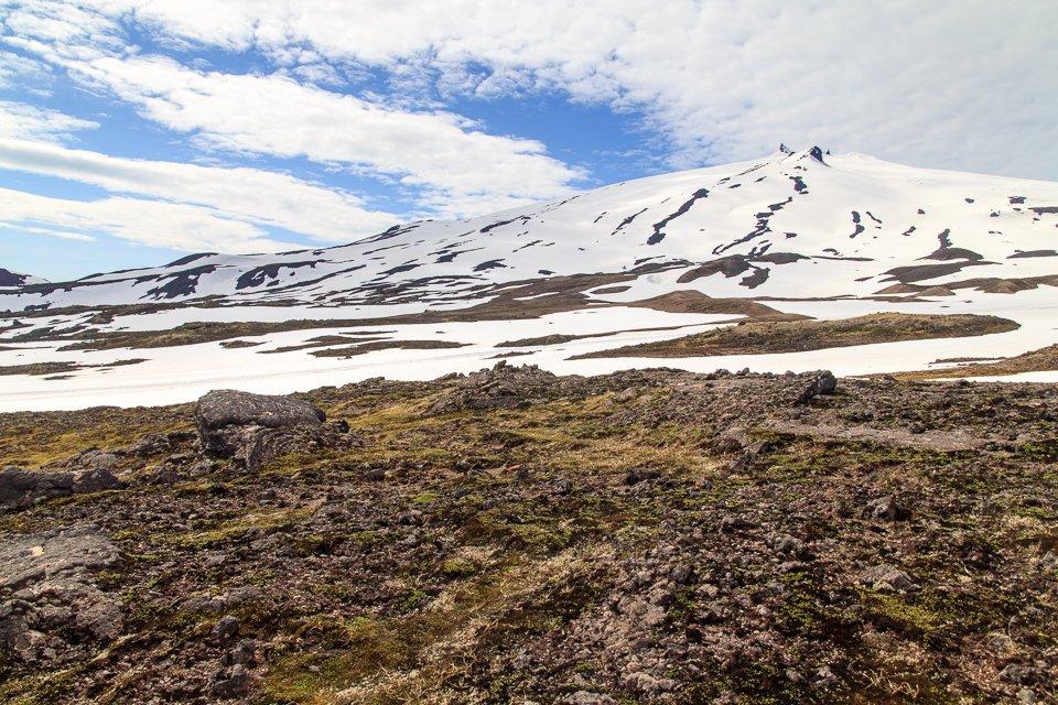 Le fameux volcan recouvert de glace