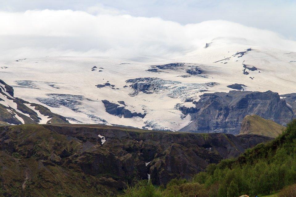 Vue sur le glacier depuis le camping